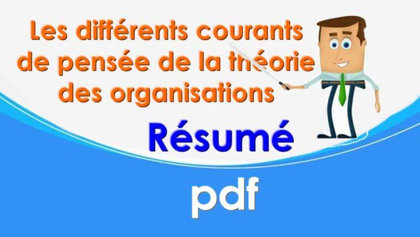 la théorie des organisations résumé PDF
