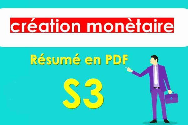 la création monétaire cours s3
