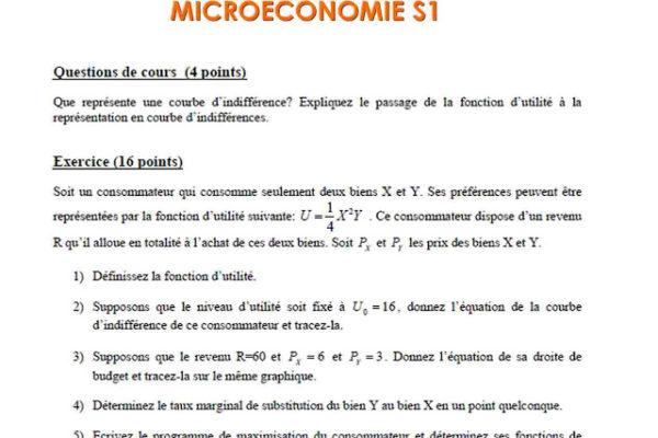 examen microeconomie s1 corrigé