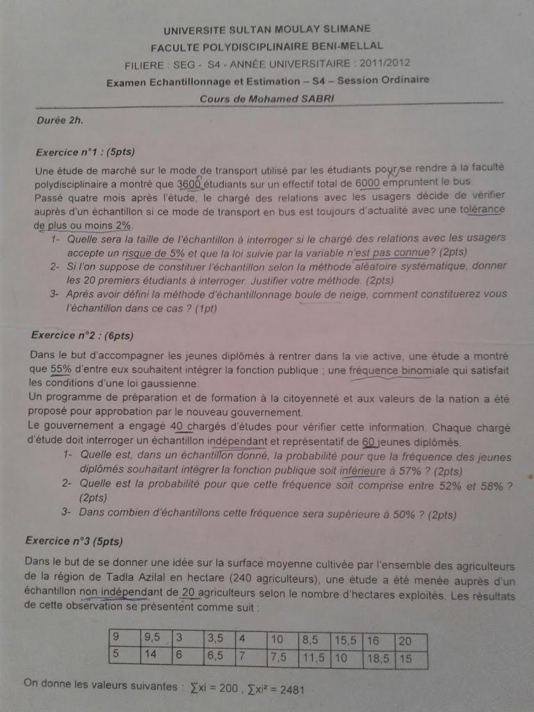 Examens et td echantillonnage et estimation