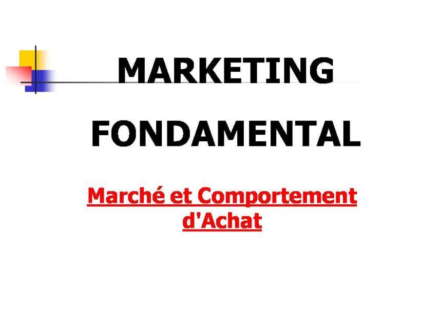 marketing et marché comportement d'achat