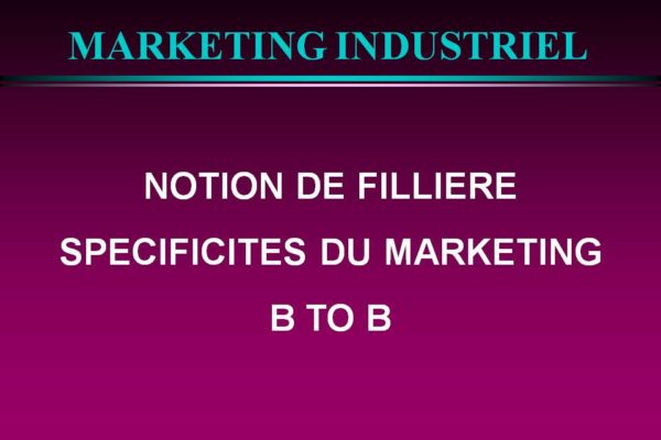 marketing b2b Notion de filière