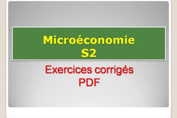 microéconomie s2 exercices corrigés pdf