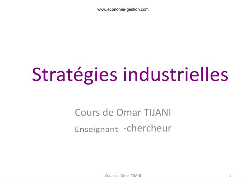 Stratégies industrielles cours complet pdf
