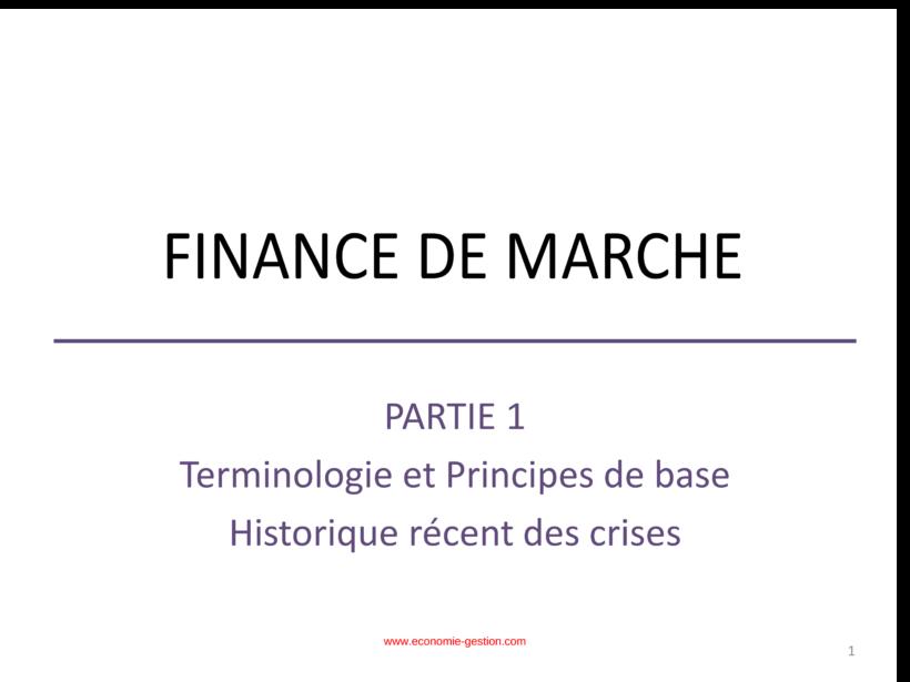 finance de marché cours pdf
