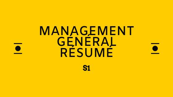 management général cours résumé S1