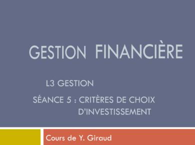 cours de gestion financière L3 - choix d'investissement