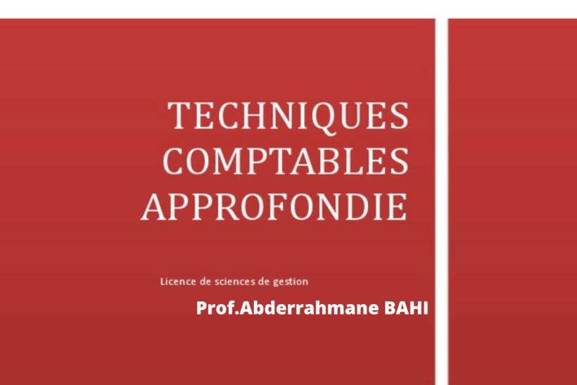 Techniques comptables approfondies PDF BAHI